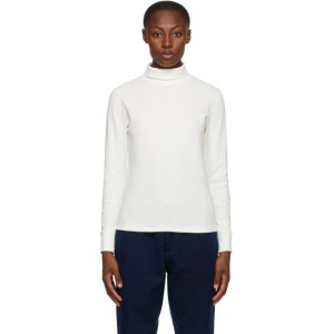 Blue Blue Japan White Slub Cotton Ribbed Turtleneck