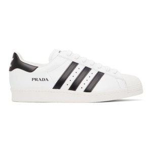 adidas Originals White and Black Prada Edition Superstar Sneakers