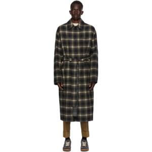 CMMN SWDN Reversible Grey Wool Check Bastien Coat
