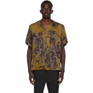 CMMN SWDN Khaki and Black Paisley Short Sleeve Shirt