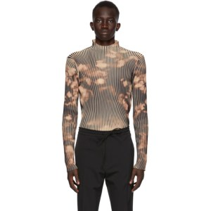 CMMN SWDN Black and Brown Ribbed Theo Turtleneck