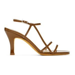 Maryam Nassir Zadeh Brown Patent Irene Sandals