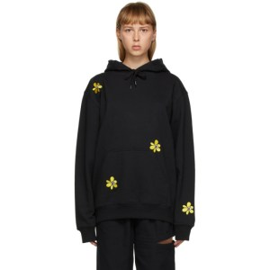 Perks and Mini SSENSE Exclusive Black and Yellow Embroidered Hoodie