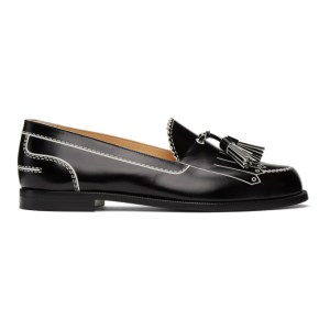 Christian Louboutin Black and White Trompinetta Loafers