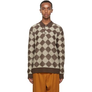 Needles Brown and Beige Wool Check Long Sleeve Polo