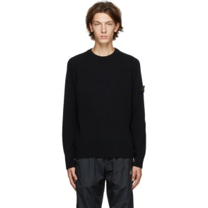 Stone Island Black Wool Crewneck Sweater