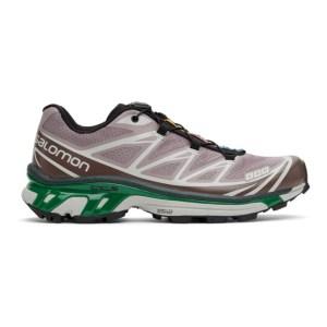 Salomon Purple and Green XT-6 Advanced Sneakers