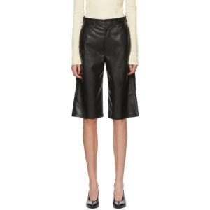 Nanushka Black Vegan Leather Nampeyo Shorts