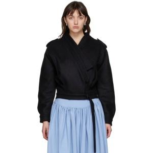 Vejas Black Felt Lapped Jacket