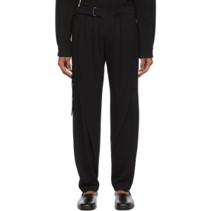 Vejas Black Jersey Belted Trousers