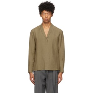 Vejas Brown Silk and Linen Shawl Collar Shirt