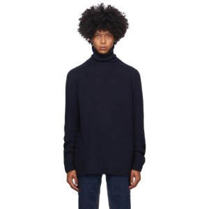 Bless Navy Merino Wool and Cashmere Pearlpad Turtleneck