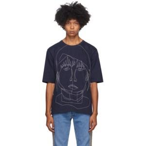 Bless Navy Stitched Starcut T-Shirt