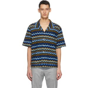 Missoni Blue Striped Short Sleeve Shirt