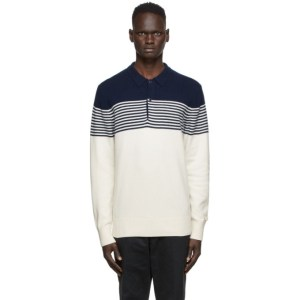 Aime Leon Dore Off-White and Navy Wool Long Sleeve Polo