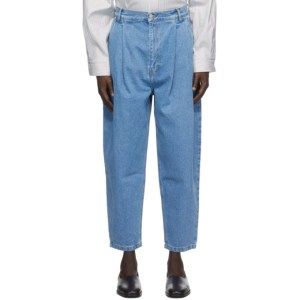 Hed Mayner Blue Pleated Jeans