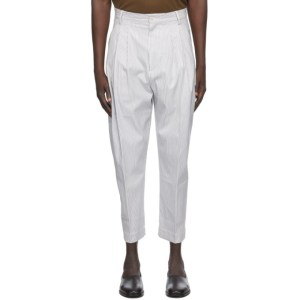 Hed Mayner White Pinstripe 4 Pleat Trousers