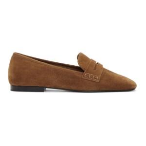 Khaite Tan Suede Carlisle Loafers