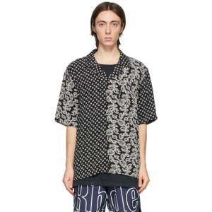 Rhude Black and White Bandana Panel Hawaiian Short Sleeve Shirt