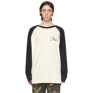 Rhude Off-White and Black Raglan Logo Long Sleeve T-Shirt