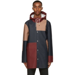 Stutterheim Burgundy and Navy Patch Stockholm Raincoat
