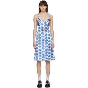 Ashley Williams White and Blue Silk Bored Slip Dress
