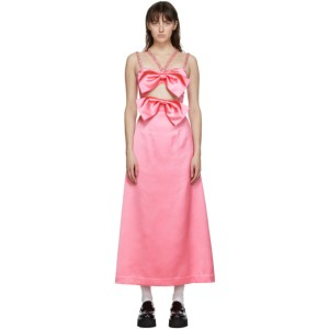 Ashley Williams Pink Satin Bow Dress