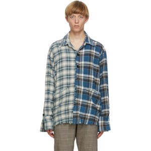 Greg Lauren Blue Denim Edged Boxy Studio Shirt