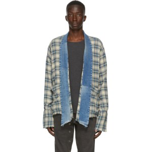 Greg Lauren Blue Plaid Mized Kimono Cardigan