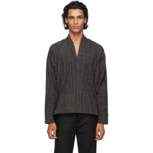 Jan-Jan Van Essche Black Organic Cotton Striped Shirt