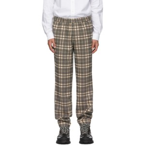 Schnaydermans Khaki and Black Wool Checked Pop Trousers