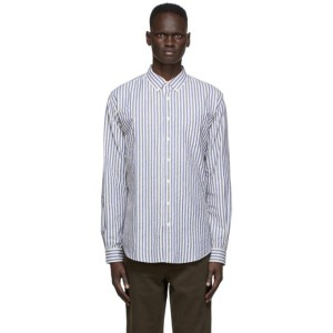 Schnaydermans Off-White and Blue Brushed Cotton Striped Shirt