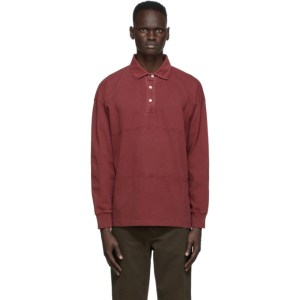Schnaydermans Burgundy Garment Dyed Rugby Polo