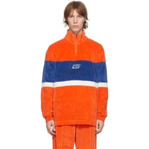 NAPA by Martine Rose Orange and Blue Velour B-Unari Half-Zip Sweatshirt