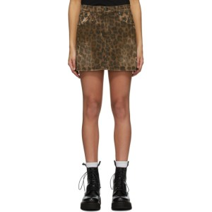 R13 Brown Denim Leopard Miniskirt