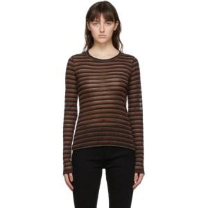 rag and bone Brown Metallic Stripe Long Sleeve T-Shirt