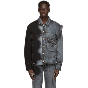 Feng Chen Wang Blue and Black Levis Edition Denim Oversized Trucker Jacket