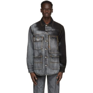 Feng Chen Wang Blue and Black Levis Edition Denim Oversized Shirt