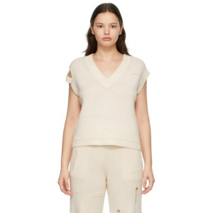 Helmut Lang Off-White Wool Distressed Vest