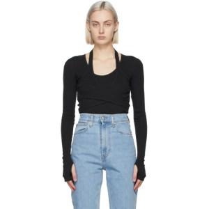 Helmut Lang Black Wrap Long Sleeve T-Shirt