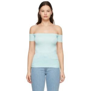 Helmut Lang Blue Off-The-Shoulder T-Shirt