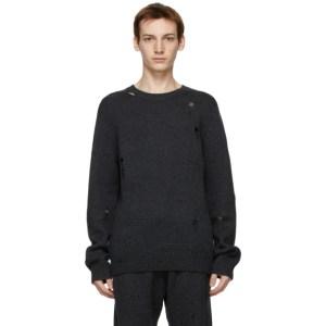 Helmut Lang Grey Heritage Distressed Sweater