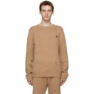 Helmut Lang Tan Heritage Distressed Sweater