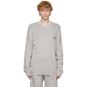 Helmut Lang Grey Wool Distressed Sweater