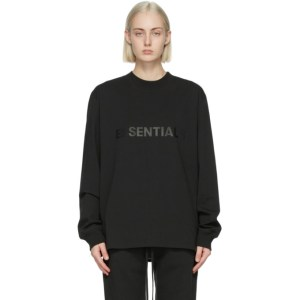 Essentials Black Logo Long Sleeve T-Shirt