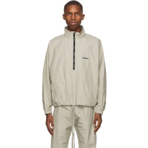 Essentials Beige Half-Zip Track Jacket
