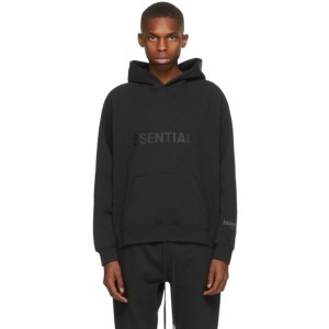 Essentials Black Pullover Logo Hoodie