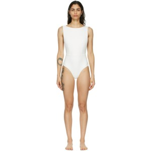 Haight Off-White Crepe New Slit One-Piece Swimsuit