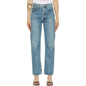 AGOLDE Blue 90s Pinch Waist High-Rise Straight Jeans