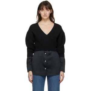 alexanderwang.t Black Cable Knit Bi-Layer Sweater